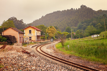 Colombres Fever train station, Asturias, northern Spain