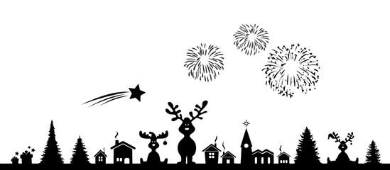 Skyline Weihnachten Feuerwerk