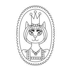 Cat queen portrait doodle