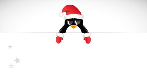 weihnachts pinguin mit sonnenbrille banner
