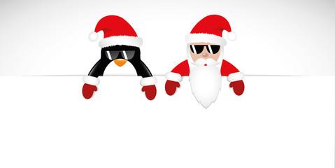 weihnachtsmann und pinguin mit sonnenbrille banner rot