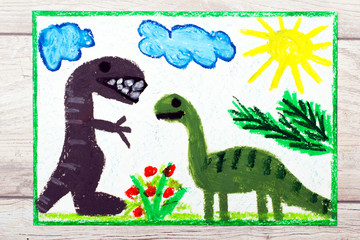 Photo of colorful drawing: Smiling dinosaurs. Big diplodocus and tyrannosaurus rex