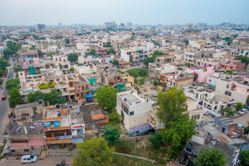 Jaipur, India - September 20, 2017: Beautiful aerial view of old rooftops of the buildings in the city in Rajasthan state, in India