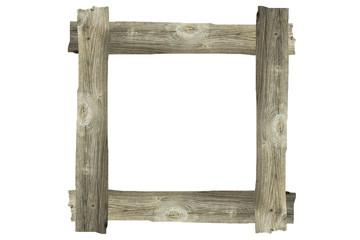 Holzrahmen freigestellt auf weißem Hintergrund