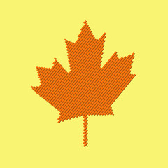 Maple leaf vector icon. Abstract red maple leaf.
