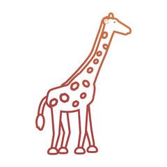 flat line colored giraffe over white background vector illustration