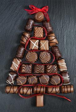 Chocolate Christmas tree on stone table