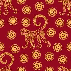 Seamless pattern with monkey 16