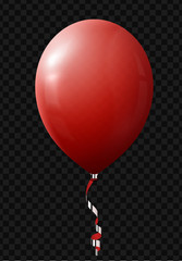 Balloon red. Isolated with ribbon on transparent background