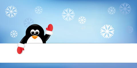 pinguin winkt schneehintergrund banner