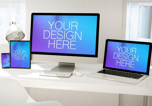 3D Rendering of Desktop Computer, Laptop, Tablet and Smartphone