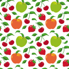 Seamless pattern with fruits and berries, apples, cherries and strawberries, green foliage.