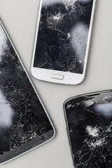 Smashed shattered broken screen of a mobile smartphone