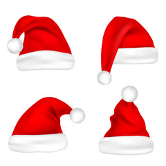 Christmas Santa Claus Hats Set. New Year Red Hat Isolated on White Background. Vector illustration.