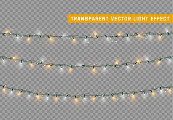 Christmas lights isolated realistic. Garland string.