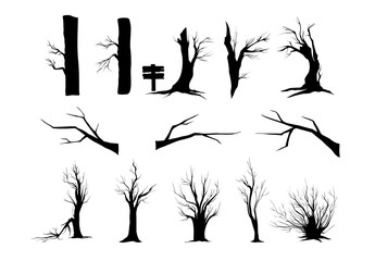 Silhouettes trees and shrubs isolated on white background