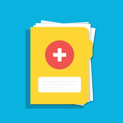 Icon of the medical folder for documents. For web, mobile and computer applications. Flat illustration isolated on color background.