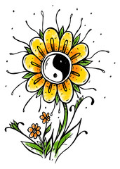 Yin Yang symbol flower