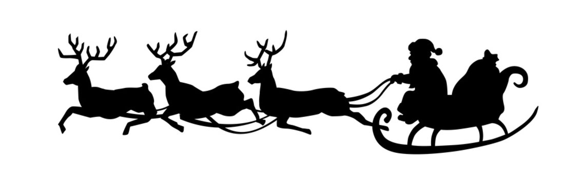 Santa Claus is riding in a sleigh with a cart of deer. Black Santa silhouette isolated on white background. Vector illustration.