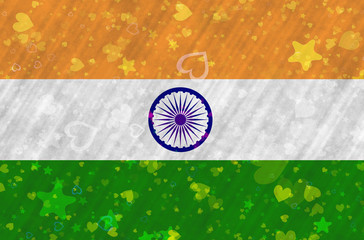 Indian Flag with stars and hearts scattered around