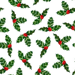 Holly Pattern. Colorful Christmas Background in Cartoon Style for Banners and Cards. Vector Illustration