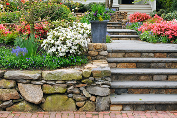 Beautiful Stone Wall And Steps, Colorful Garden, Curb Appeal Fotobehang