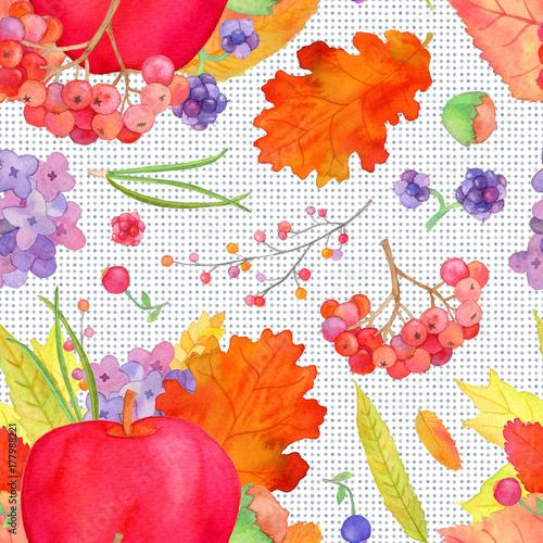 Apple Arrangement Seamless Pattern Fall Harvest Watercolor