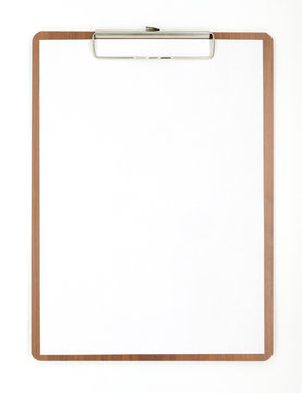 old clipboard isolated white background