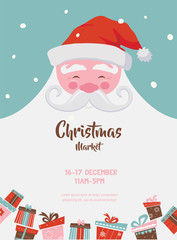 christmas market poster with santa and presents. vector illustration