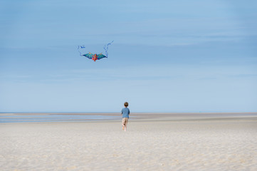 Boy flying dragon kite on the beach