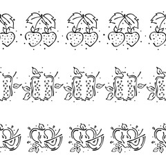 Vector set, fruits seamless pattern. Decorative border. Pomegranate, strawberry, apple with leaves, decorative Hand drawn contour lines and strokes Graphic illustration