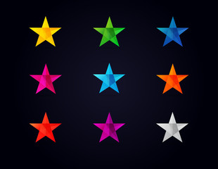 Stars shape colored icons. Colorful vector star icons on black background for christmas template or celebraation greeting card
