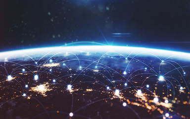 Wall Mural - Data exchange and global network over the world. Earth at night, city lights from orbit. Elements of this image furnished by NASA