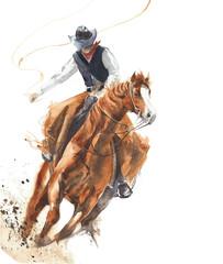 Kowbojska jazda końska przejażdżki łydki obrazu sklejona ilustracja odizolowywający na białym tle