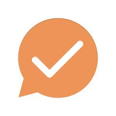 Orangene Sprechblase rund - Haken - Richtig