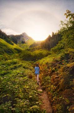 Female Hiker, Sunrise