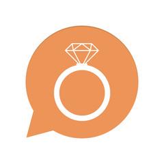 Orangene Sprechblase rund - Diamantenring