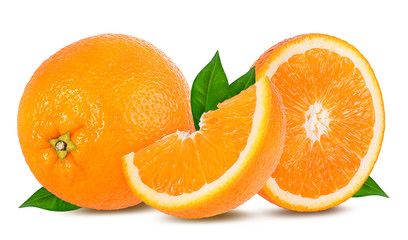 Wall Mural - Ripe orange isolated on white background