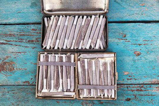 Tin Box  & Cigarette Case Full of Marijuana Joints