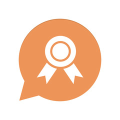 Orangene Sprechblase rund - Medaille - Siegespreis