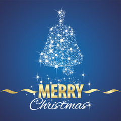 Christmas bell symbol stardust blue background