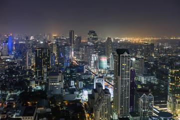 Thailand, Bangkok skyline at night