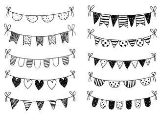 Vector set with hand drawn doodle buntings