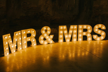 Freestanding Mr & Mrs Marquee light up letters.