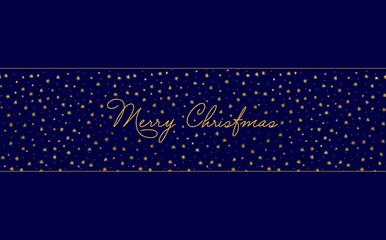 Simple Christmas card template - dark blue background with gold foil stars and handwritten letters