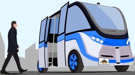 Self driving bus blue-grey