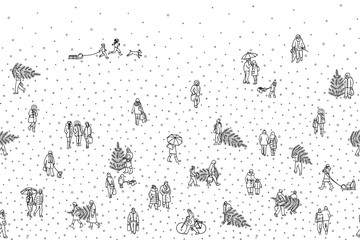 Hand drawn illustration of tiny pedestrians walking in winter through the city: small people wearing warm winter coats and carrying Christmas trees. Seamless banner, can be tiled horizontally
