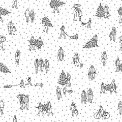 Seamless pattern of tiny pedestrians walking in winter through the city: small people wearing warm winter coats and carrying Christmas trees, in black and white