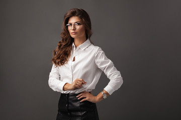 Beautiful severe businesswoman