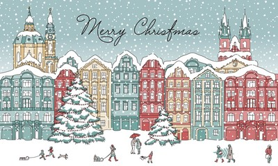 Hand drawn illustration of a city in winter at Christmas time, with small people, cathedral and Christmas trees